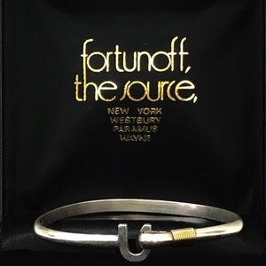 Sterling Silver 14K Gold HorseShoe Bangle Bracelet